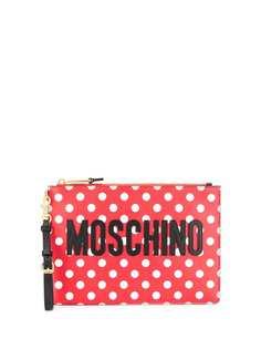 Moschino клатч с логотипом в горох