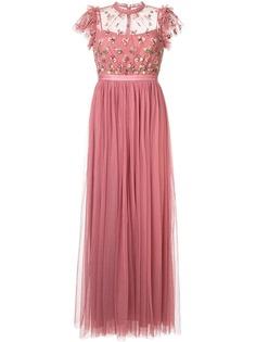 Needle & Thread платье с цветочной аппликацией