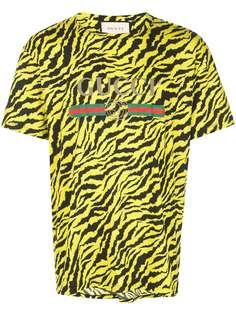 Gucci футболка с зебровым принтом и логотипом