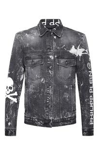 Куртка из денима с принтом Philipp Plein