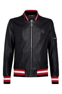 Кожаная куртка с контрастной отделкой Philipp Plein