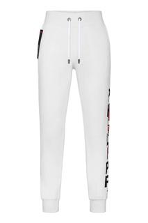Спортивные белые брюки с принтом Philipp Plein