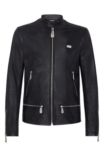 Короткая черная кожаная куртка Philipp Plein