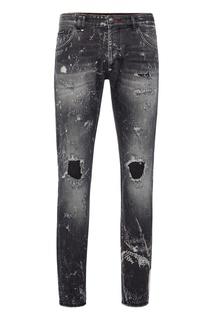 Серые джинсы с отделкой Philipp Plein