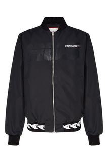 Утепленная черная куртка-бомбер Fw Dlab