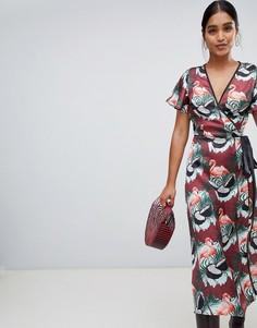 Платье макси с запахом и принтом Liquorish - Мульти