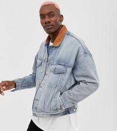 Утепленная джинсовая куртка свободного кроя с вельветовым воротником Reclaimed Vintage - Синий
