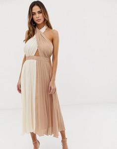 Плиссированное платье миди с лямкой через шею ASOS DESIGN - Розовый