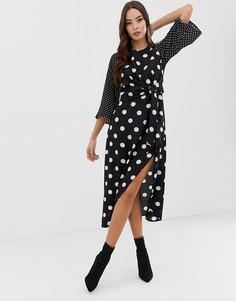Платье миди в горошек AX Paris - Черный