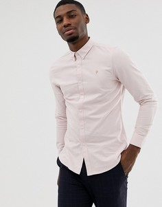 Розовая приталенная оксфордская рубашка Farah Brewer - Розовый