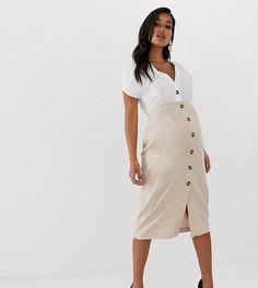 Платье миди из хлопка и льна с пуговицами ASOS DESIGN Maternity - Мульти