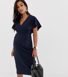 Платье-футляр миди с рукавами клеш ASOS DESIGN Maternity - Темно-синий