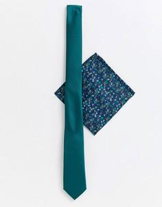 Зеленый узкий галстук и платок для нагрудного кармана с цветочным принтом ASOS DESIGN - Зеленый