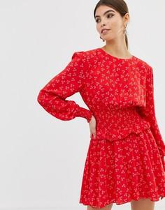 Платье с длинными рукавами и цветочным принтом Finders Keepers - Красный