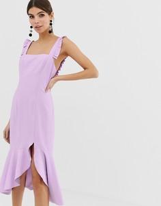 Платье миди с оборками Finders Keepers - Фиолетовый
