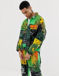 Куртка в зелено-желтой гамме с принтом драконов и пейсли Jaded London - Зеленый