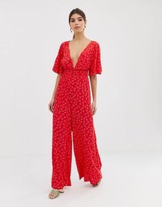 Комбинезон с широкими штанинами и цветочным принтом Finders Keepers - Красный