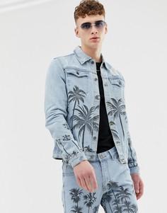 Синяя джинсовая куртка с пальмовым принтом Criminal Damage - Синий
