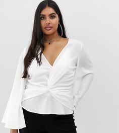 Белая блузка-кимоно с перекрученным передом Missguided Plus - Белый