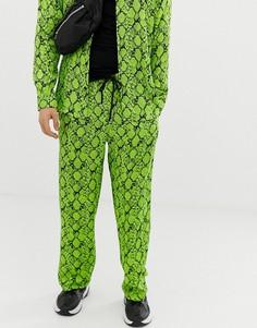 Неоново-зеленые атласные брюки с принтом под змеиную кожу Jaded London - Зеленый