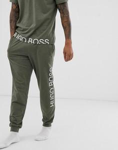 Джоггеры цвета хаки с манжетами и логотипом BOSS Bodywear Identity - Зеленый