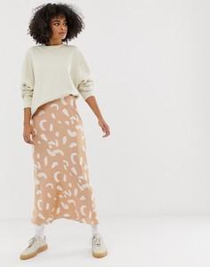 Атласная юбка макси с принтом ASOS DESIGN - Мульти