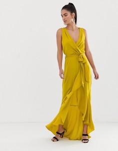 Платье мидакси с запахом Flounce London - Желтый