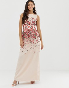 Розовое платье с цветочной вышивкой Chi Chi London - Мульти