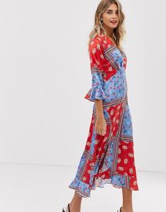 Платье макси с запахом и цветочным принтом Liquorish - Мульти