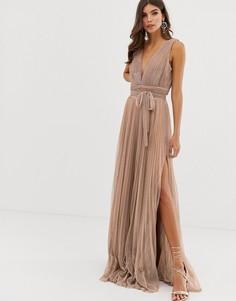 Розово-золотистое плиссированное платье макси для выпускного Forever Unique - Золотой