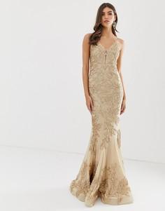 Золотистое платье макси для выпускного с кружевом и юбкой годе Forever Unique - Золотой
