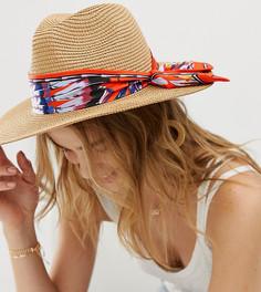 Соломенная шляпа с разноцветным шарфом ALDO - Бежевый