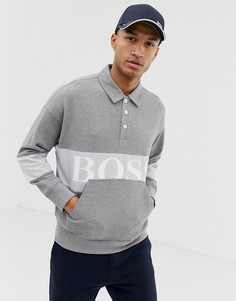 Серый свитшот с крупным логотипом BOSS Wolton - Серый