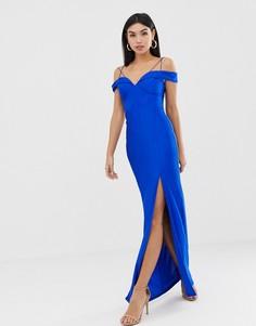 Платье макси с бретельками и разрезом сбоку AX Paris - Синий