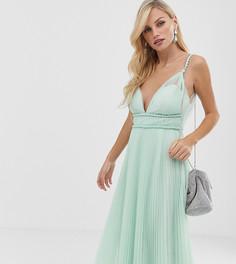 Платье миди из тюля с глубоким вырезом ASOS DESIGN - Зеленый