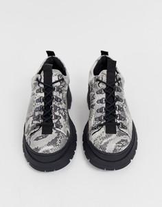 Туфли на толстой подошве из искусственной кожи со змеиным рисунком и шнуровкой ASOS DESIGN - Мульти