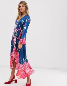 Чайное платье миди с запахом и цветочным принтом Liquorish - Зеленый