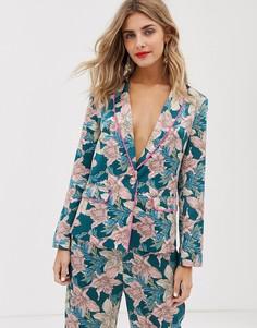 Пижамная рубашка из комплекта с цветочным принтом и неоновой отделкой Liquorish - Мульти