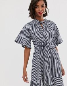 Платье мини в полоску с завязкой Y.A.S - Мульти