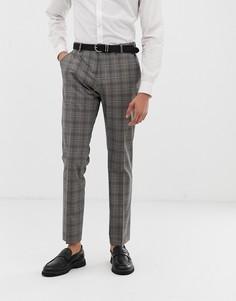 Серые узкие брюки в клетку Selected Homme - Серый