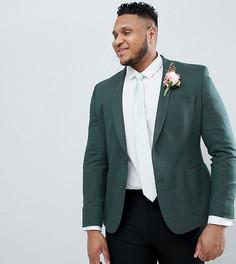 Зеленый приталенный блейзер с добавлением шерсти ASOS DESIGN Plus wedding - Зеленый