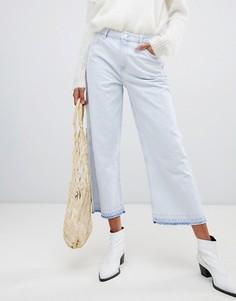 Укороченные джинсы с широкими штанинами и необработанными краями Pepe Jeans - Белый