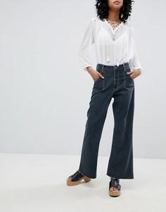 Широкие укороченные джинсы с завышенной талией и контрастными строчками One Teaspoon - Черный