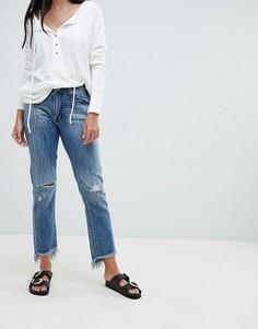 Рваные прямые джинсы с завышенной талией и необработанными краями One Teaspoon - Синий