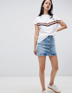Джинсовая юбка в винтажном стиле на пуговицах Lee - Синий