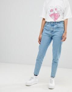 Джинсы в винтажном стиле и вышивкой на кармане Chorus - Синий