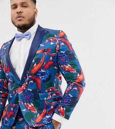 Приталенный пиджак-смокинг с принтом рыб ASOS DESIGN Plus - Синий