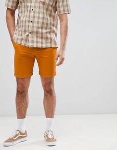 Оранжевые шорты с эффектом кислотной стирки Weekday - Оранжевый