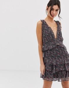 Платье с оборками и цветочным принтом Stevie May Gazelle - Черный