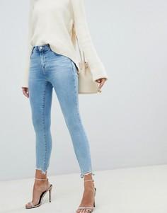 Светлые укороченные джинсы скинни с завышенной талией и рваной отделкой по краю J Brand Alana - Синий